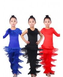 4270b759b Black red royal blue fringes girls kids child children performance long pants  latin salsa cha cha