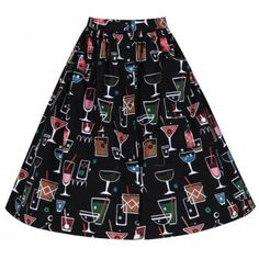 'Adalene' Black Cocktail Print Swing Skirt -  from Lindy Bop UK