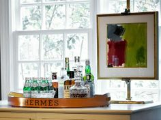 bar vignette by Traci Zeller Designs Picture frame holder thingy! Bar Cart Styling, Bar Cart Decor, Tray Decor, Bar Tray, Interior Decorating, Interior Design, Decorating Ideas, Interior Ideas, Shed Homes