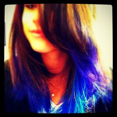 @Katie Kirwan, I think this would look so cool with your natural hair color. This is Selena Gomez with blue & purple dips. Tell me what you think