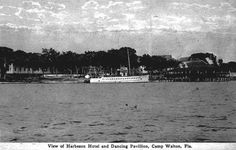 This 1920s Florida Memory postcard shows the Harbeson Hotel and Pavilion in Camp Walton. The W.B. Harbeson is shown docked in front of the hotel. The boat carried passengers between Pensacola and Camp Walton each day.