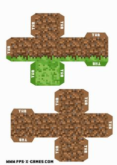 Minecraft printable grass and dirt block for the Enderman mount