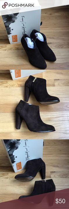Elizabeth and James brown suede Shane Bootie Great condition chocolate brown suede booties worn 5-6 times. For more details: https://m.shop.nordstrom.com/s/elizabeth-and-james-shane-bootie/3175709  (Regarding the low price point, I'm emptying my closet and as with all of my listings and am just looking to put gently used items to second use.) Elizabeth and James Shoes Ankle Boots & Booties
