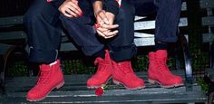 Timberland's latest limited release is a all-red boot modeled by Paloma Elsesser.