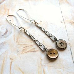 ButtonArtMuseum.com - Faded Elegance - Art Deco Silver Tone Watch Strap and Vintage Shell Button Handmade Dangle Earrings
