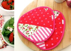 colorful kitchen pink patchwork pair of potholders by xxxRedStitcHxxx on Etsy, €20.00 # potholders # large potholders # kitchen # pink