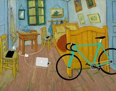 """""""Bedroom in Arles"""", Vincent van Gogh parodie with Gadgets Vincent Van Gogh, Van Gogh Pinturas, Classe D'art, Arte Van Gogh, Apple Art, Johannes Vermeer, Famous Artwork, Classic Paintings, Middle School Art"""