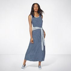 Style to the maxi. A striped maxi dress will keep you looking chic all summer long. FEATURES • Scoop neckline• Sleeveless• Wide sash at the waist• Maxi dress (long dress)• Straight hemline #dresses #maxidress #dress #summerdresses #summerfashion