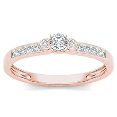 De Couer 10k Rose Gold 1/5ct TDW Diamond Classic Engagement Ring (H-I, I2) (Size-7), Women's, Size: 7, Pink