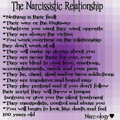 The Narcissitic Relationship---This is so familiar that it is uncanny.  Every. Single. One.  Worst mistake of my life.