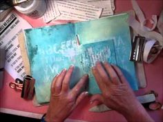 """Really? An Art Journal Spread - Kimmerbe covers a great technique that is used for layering purposes in her Art Journal.  Apply """"Golden Gel"""" to the paper and rub over another layer of printed paper.  Leave for 60-90 seconds and peel off again.  The print remains.  Fantastic!"""
