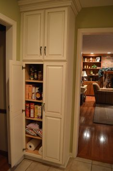 F White Wooden Tall Narrow Pantry Cabinet With Maple Wood Shelves