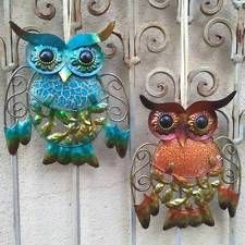 Pretty Glass and Metal OWL WALL PLAQUES choice of Aqua or Orange Home Garden