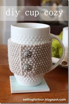 DIY Extra Soft Knitted Cup Cozy - Setting for Four