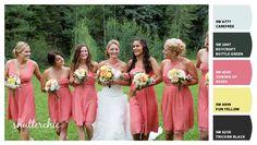 Peach/coral bridesmaid dresses