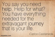Carlos Castaneda: You say you need help. Help for what? You have everything needed for the extravagant journey that is your life. life, journey, help. Meetville Quotes