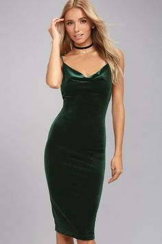 $42  in green   medium                   Lulus Exclusive! The Jazzy Belle Dark Green Velvet Dress is worthy of a catwalk and a crowd! See for yourself as the soft, velvet knit fabric shapes a sexy cowl neckline and elastic back below rounded shoulder straps. Bodycon skirt creates a bold finish ending at a flattering midi length.