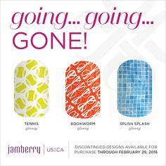 Tennis Glossy, Bookworm Glossy, Splish Splash Glossy, are retiring on February 29th at 11:59pm MT Jamminmartha.jamberry.com