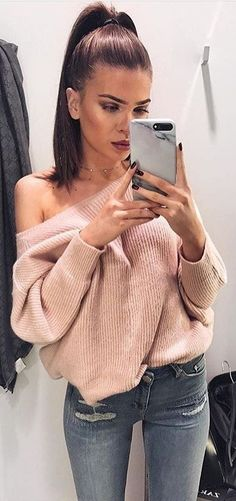 #winter #fashion /  Pink Off Shoulder Knit