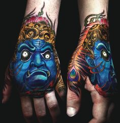 Looking for the best hand tattoos? Hand tattoos for men are bold and rebellious. Because hand tattoos are very visible and painful to get, think twice if you plan on…View Hand Tattoos For Guys, Hand Tats, All Tattoos, Sleeve Tattoos, Japanese Hand Tattoos, Japanese Mask Tattoo, Sick Tattoo, Tattoo You, Herren Hand Tattoos