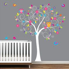Baby Nursery Tree Wall Decal Sticker Decals E38 Owl Roomsbabies