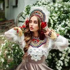 Fantasy fairytale photoshoot. National russian dress. National costume. Kokoshnik.