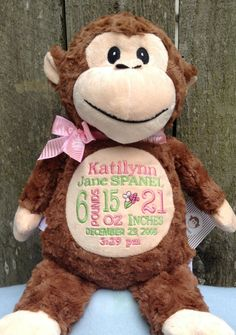 Personalized baby gift embroidered baby gift monogrammed monkey monogrammed baby gift monkey birth announcement personalized by world class embroidery negle Image collections