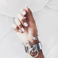 Ballin Bangle  Looking super fiiiine here stacked with a cuff and bright white nails.  Minimal.  Simple.  Elegant.  Tick tick annnnd tick. $24.95  Pic via Pinterest by minimalist.jewellery