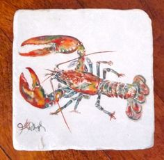 Red Lobster Coaster 4x4 Giclée on Stone by by jenniferrashleigh