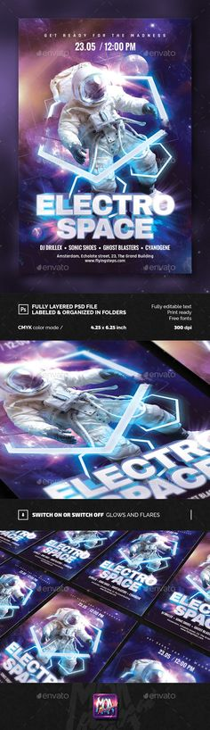 Electro Space Party Flyer Template PSD. Download here: http://graphicriver.net/item/electro-space-party-flyer/15369442?ref=ksioks