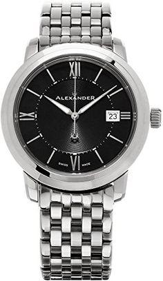 Alexander Heroic Macedon Black Dial Stainless Steel Bracelet Mid-size Swiss Watch A111B-03 -