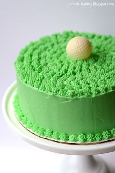 i heart baking!: another golf ball cake! chocolate cake filled with chocolate mousse and covered with cream cheese buttercream