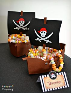 Pirates Birthday Party Ideas Favor ships at a pirate birthday party! See more party planning ideas a Deco Pirate, Pirate Kids, Pirate Day, Pirate Theme, Pirate Party Favors, Pirate Snacks, Birthday Tags, Pirate Birthday, 4th Birthday Parties