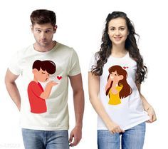 Couple Tshirts Trendy Couple T-Shirts Fabric: Semi Cotton  Sleeves: Half Sleeves Are Included Size: S - 36 in M - 38 in L - 40 in XL - 42 in XXL - 44 in Length: Up To 26 in Type: Stitched Description: It Has 2 Pieces Of T-Shirts Work: Printed Country of Origin: India Sizes Available: S, M, L, XL, XXL   Catalog Rating: ★4.1 (3362)  Catalog Name: Briar Standard Semi Cotton Couple T-Shirts Vol 1 CatalogID_101982 C79-SC1940 Code: 183-875867-