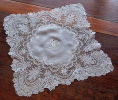 Em's Heart Antique Linens -Antique Linen Lace Wedding Handkerchief