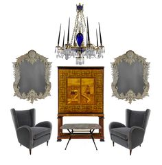 A large and impressive Neo-Classical Baltic style blue glass & ormolu chandelier; A large Baltic cabinet on stand in the Neo-Classical manner depicting Greek motifs of fine quality.  www.eburytrading.com