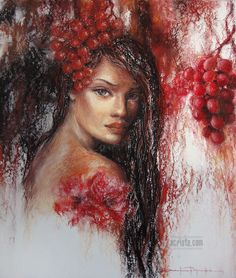 """A Vine"", soft pastel #art #female #grape"