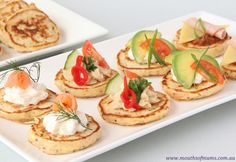 Savoury Pikelets Recipe - Real Recipes from Mums Lunch Snacks, Savory Snacks, Savoury Dishes, Pikelet Recipe, High Tea Food, Low Fat Cream Cheese, Food Tech, Delicious Breakfast Recipes, Food Platters