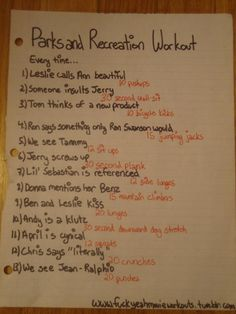 Parks and Recreation workout!  Want to see more workouts like this one? Follow us here.