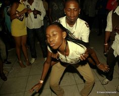 A young dancehall couple dancing.