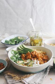 Peri Peri Tofu Quinoa Buddha Bowl + Quick Chilli Pickles