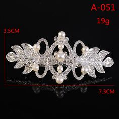 A051 Pearl Wedding Hair Comb with Pave Crystal Leaves