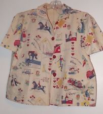 Vintage 1940s Cotton blouse shirt Ripley's Believe it or Not fabric RARE CUTE