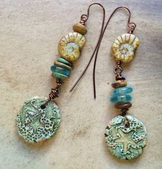 by Sheri Mallery, Exotic Beach Porcelain Earrings Handmade by SheriMalleryHandwork