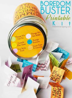 A printable boredom buster jar for the kids with six different categories of activities.