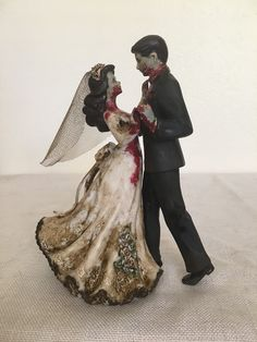 The Undead Happy Couple  Zombies kissing wedding cake topper by     Zombies kissing wedding cake topper by Garden Ninja Studios    Wedding  All    Pinterest   Zombie wedding cakes  Kiss and Couples