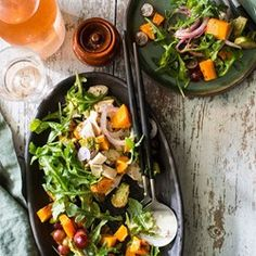 Chicken, Arugula & Butternut Squash Salad with Brussels Sprouts  - EatingWell.com