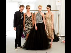 Theia designer Don O'Neill with models  Louise Cooney, Sohaila Lindheim and Danny Xu pictured at the Rose of Tralee International Festival fashion show.   http://iwphotos.independent.ie/gallery/Rose_of_Tralee_Fashion_Show