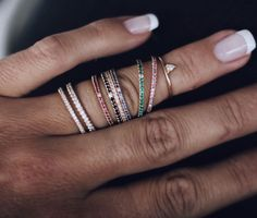 Amazing Jade Rings in 18K gold with different diamonds, rubies, champagne diamonds, pink and blue sapphires, black diamonds - all with Hidden gems :) By Swedish fine jewelry brand mumbaistockholm