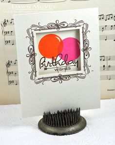 Boutique Borders: Birthday, stamping the design four times, working my way around the window, to create a fun dark chocolate frame, balloons: orange zest and pure poppy inks.